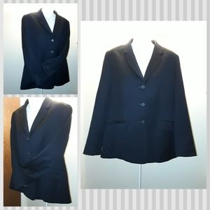 Lands' End Jackets & Coats - Women's Navy Dark Blue Lands End Work Blazer Coat
